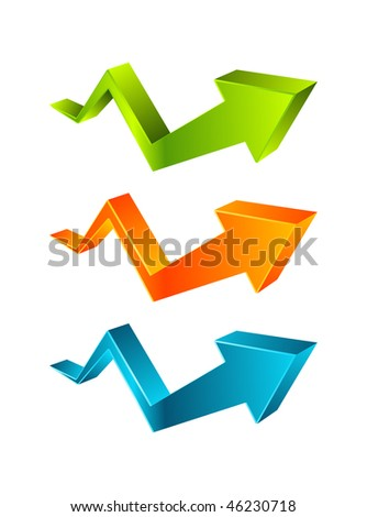 Vector 3d arrow graph - stock vector