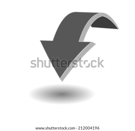 Vector 3d arrow pointing down, rests in the shade on a white background - stock vector