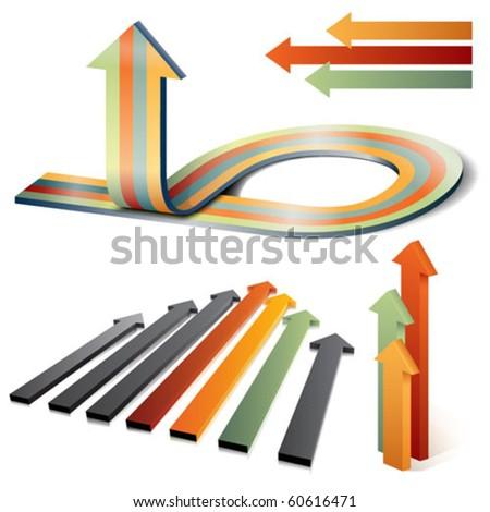 vector 3d arrows - stock vector