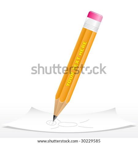 Vector 3d black pencil - stock vector