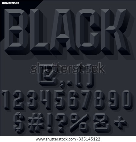 Vector 3D black  set of condense beveled numbers and symbols with shadow. Simple colored version. - stock vector