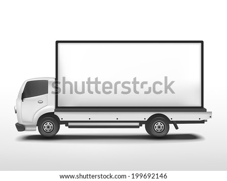 vector 3d blank mobile billboard template isolated on white background - stock vector