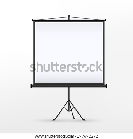 vector 3d blank projection screen template isolated on white background