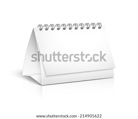 Vector 3d blank spiral bound desktop calendar viewed at an angle with copyspace for your picture or advertising - stock vector