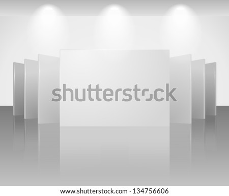 Vector 3d blank template of exhibition gallery stand walls with reflection on light background. Image contains transparent lights and shadows. 10 EPS - stock vector