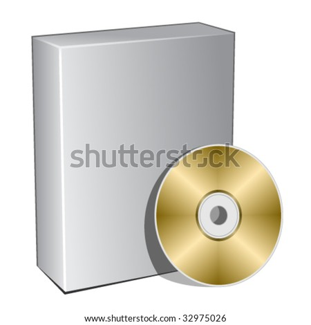 vector 3d box with compact disc