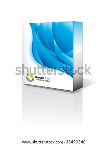 VECTOR 3D Box with reflection, Shadow and space for text or image - stock vector