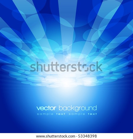 Vector 3D circle and perspective lines on the blue background with text - stock vector