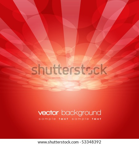 Vector 3D circle and perspective lines on the red background with text - stock vector