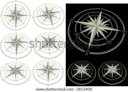 vector 3D compass in nine positions isolated on white and black - stock vector