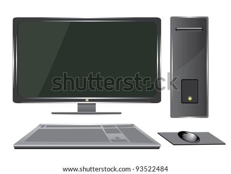 vector 3d computer. - stock vector