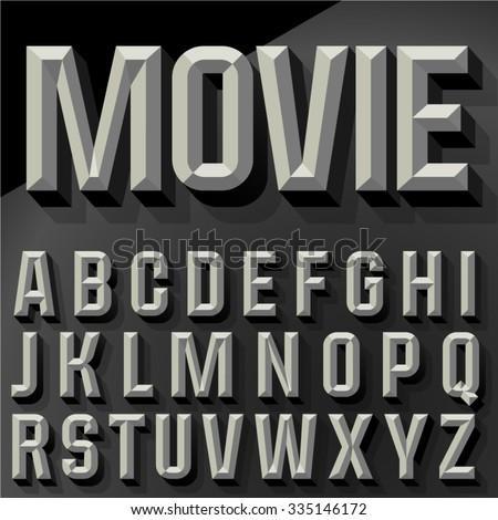 Vector 3D condense beveled alphabet with shadow. Bicolored version. - stock vector