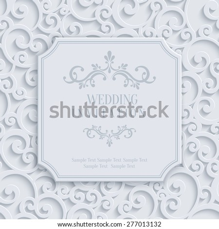 Vector 3d Curl Wedding or Invitation or Greeting Card with Damask Floral Swirl Pattern  - stock vector