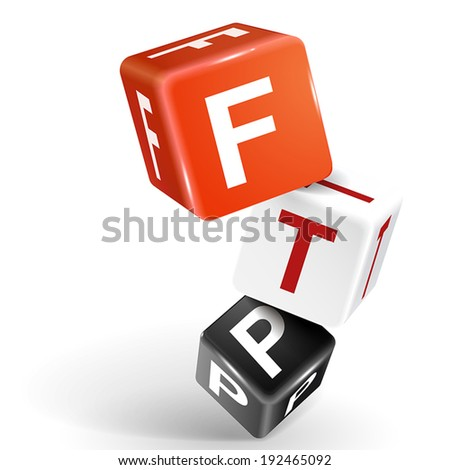 vector 3d dice with word FTP File transfer Protocol on white background - stock vector