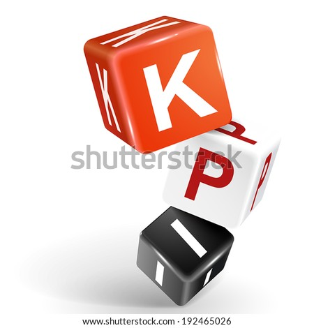 vector 3d dice with word KPI Key Performance Indicator on white background - stock vector