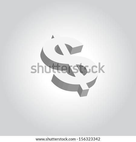 Vector  3D Dollar Sign  Rotation  - stock vector