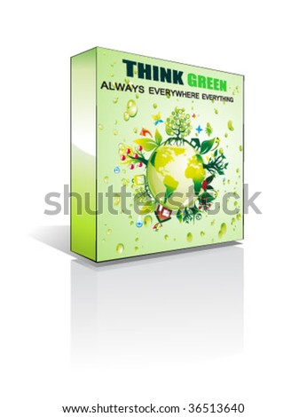 VECTOR 3D Ecology Software box with reflections and shadow - stock vector
