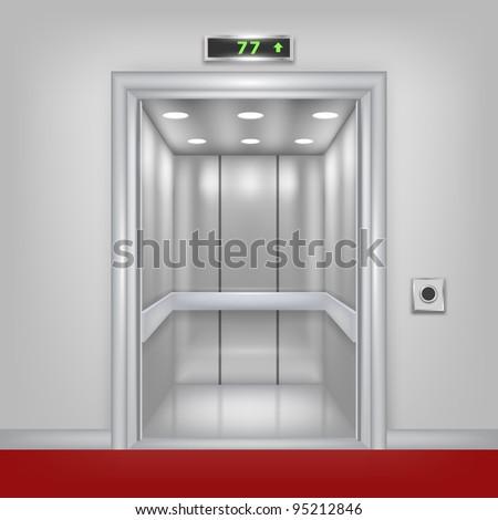 Vector 3d elevator with opened doors. Part of set. - stock vector