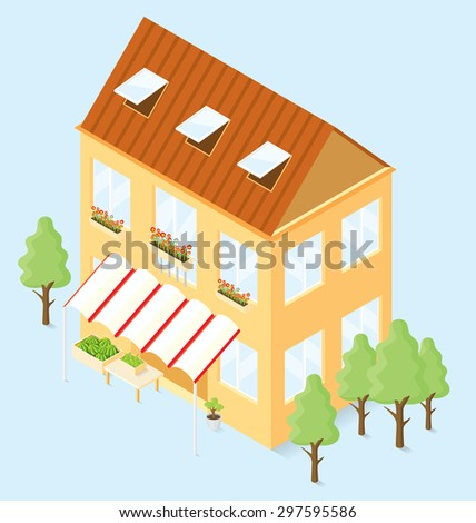 Vector 3d flat isometric house with trees and vegetable shop - stock vector