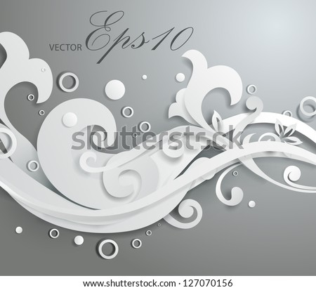Vector 3d floral ornament - stock vector