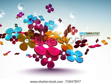 Vector 3D Floral Patterns - stock vector