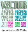 Vector 3D font in many variations, a 2D version is also available - stock vector