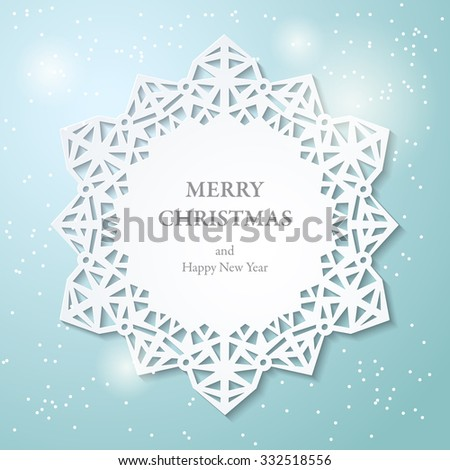 Vector 3d frame with ornamental cutout lace border. Paper cut lacy snowflake on blue background. Abstract Christmas Star background. Vector illustration EPS10 - stock vector
