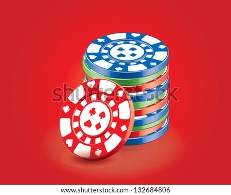 vector 3d gambling poker chips - stock vector