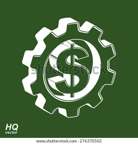 Vector 3d gear and green dollar symbol. Business and finance conceptual icon. High quality engineering design element, commerce theme graphic emblem, eps8. - stock vector