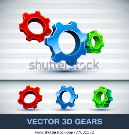 Vector 3d gears - stock vector