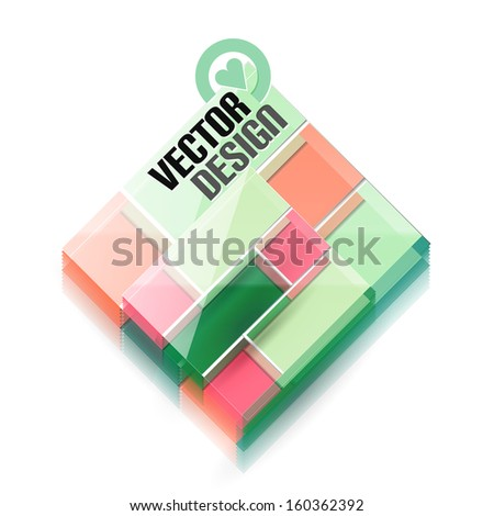Vector 3d glass shape for business template - stock vector
