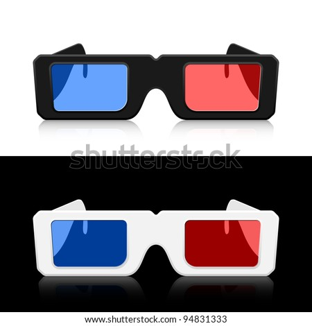Vector 3D Glasses - stock vector