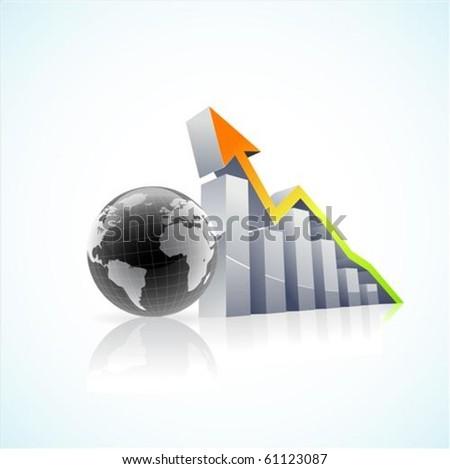vector 3d global economy bar graph with colorful growth arrow - stock vector