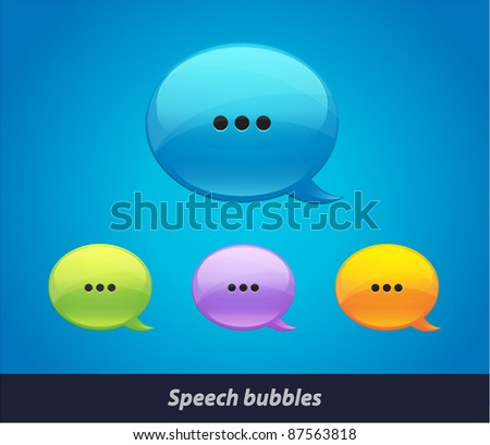 Vector 3d glossy colorful speech bubble - stock vector
