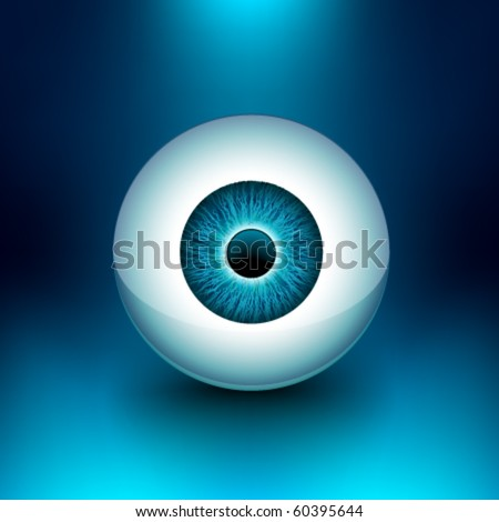 Vector 3D Glossy Eyeball - stock vector