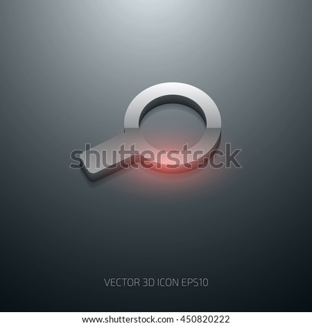 Vector 3d glossy magnifying glass icon - stock vector
