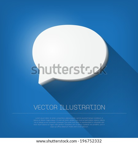 Vector 3d glossy white plastic speech bubble icon with long shadow - stock vector