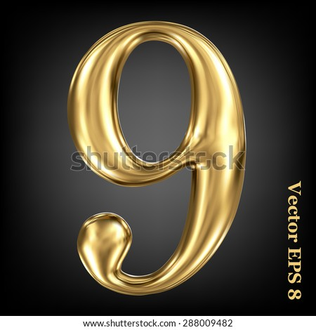 Vector 3d golden number collection - 9. Eps 8 using mesh. - stock vector