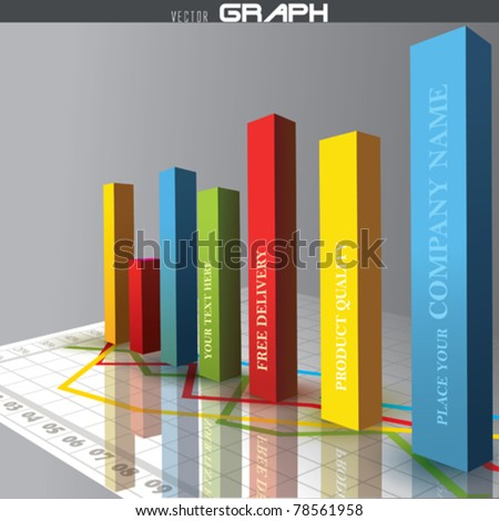 Vector 3D graph - stock vector