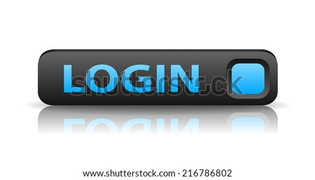 vector 3D gray web button with blue sign login and reflection - stock vector