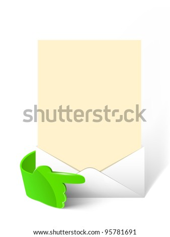 Vector 3d green glass hand with empty paper in envelope. Web element. - stock vector