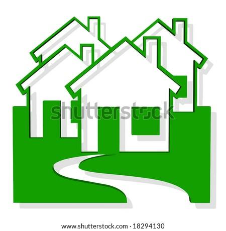 Vector 3D Green Houses - stock vector