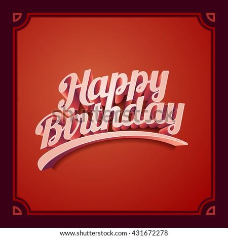 Vector 3d Happy Retro Birthday Card Stock Vector 431672278