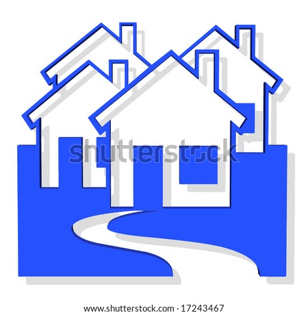 Vector 3D Houses - stock vector