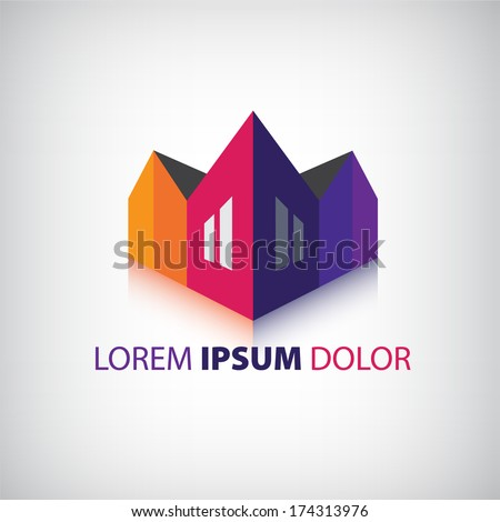vector 3d houses icon, logo isolated - stock vector