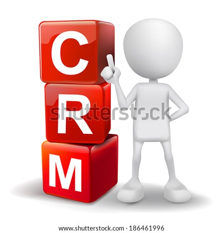 vector 3d human with word CRM Customer Relationship Management cubes on white background - stock vector