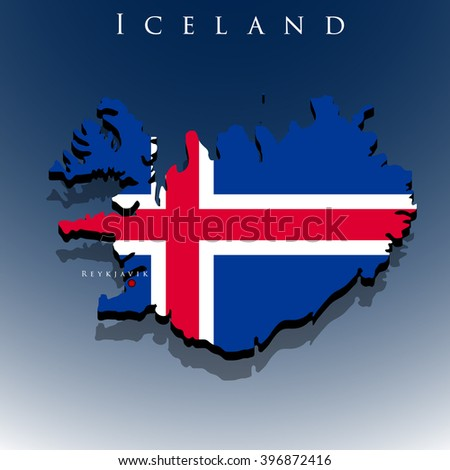 vector 3d Iceland map with a flag on a blue background, EPS 10