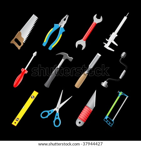 vector 3d icons of joiner's tools - stock vector