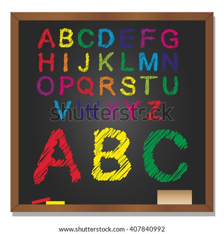 Vector 3D illustration of concept or conceptual set or collection of colorful handwritten, sketch or scribble font, black school blackboard background for education, childhood, artistic or children