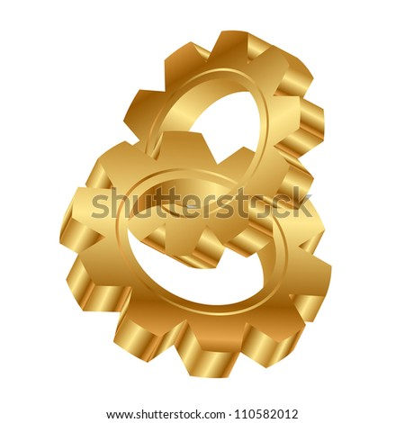 Vector 3d illustration of golden cog wheels - stock vector